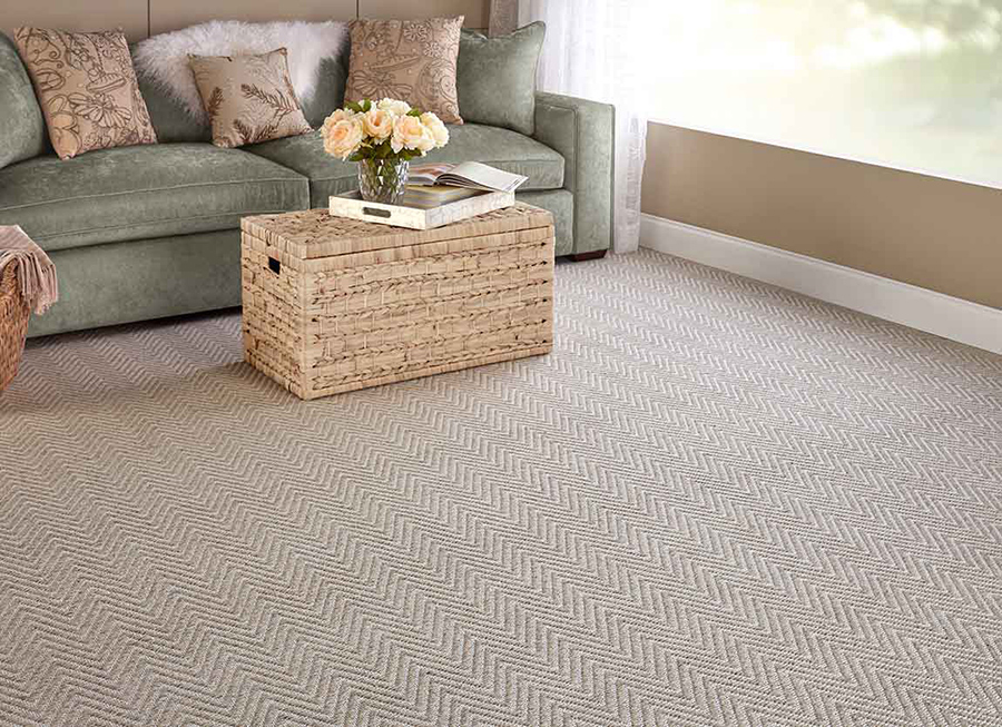 Living room with a neutral colour scheme and carpet with zig zags