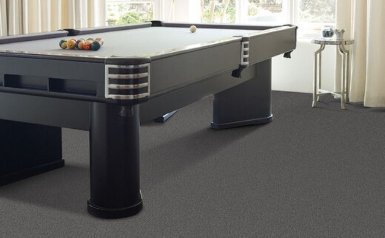 Carpet Floor Gameroom Pool Table Example