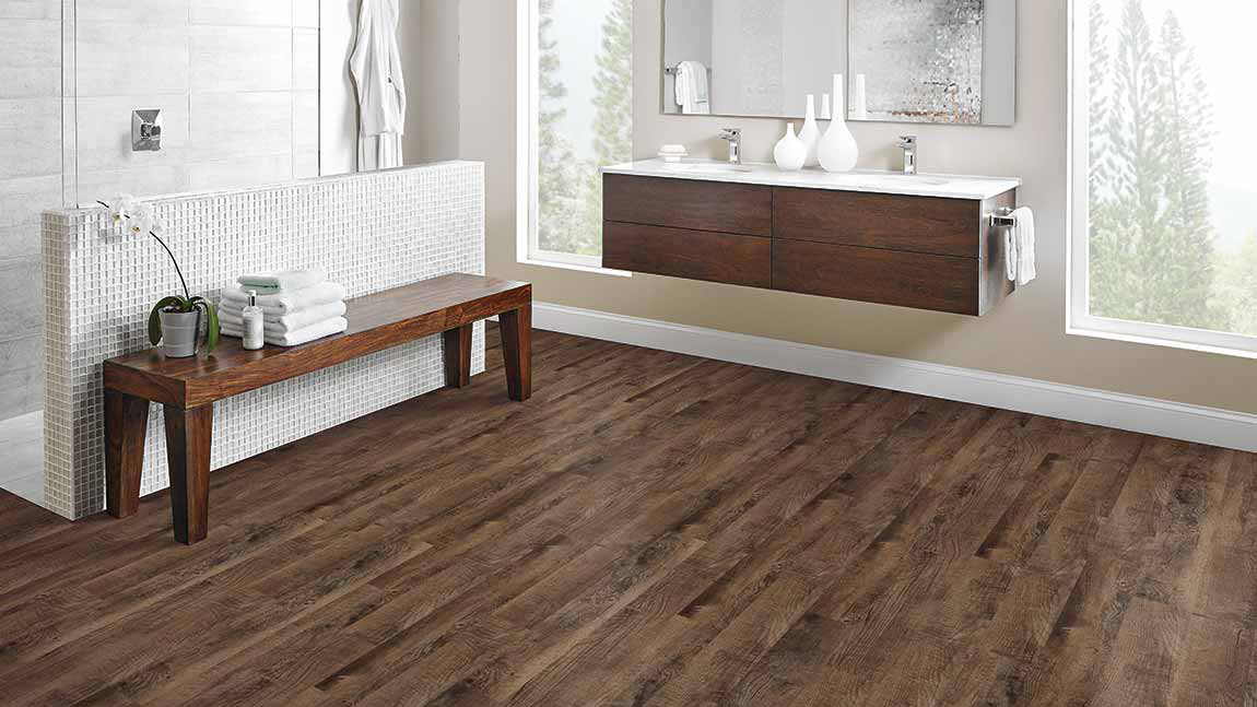Luxury Vinyl Plank LVP Bathroom Flooring Example