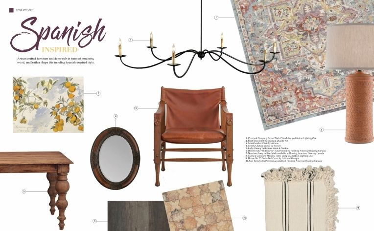 Spanish-Inspired Flooring Décor Furniture Lighting Examples