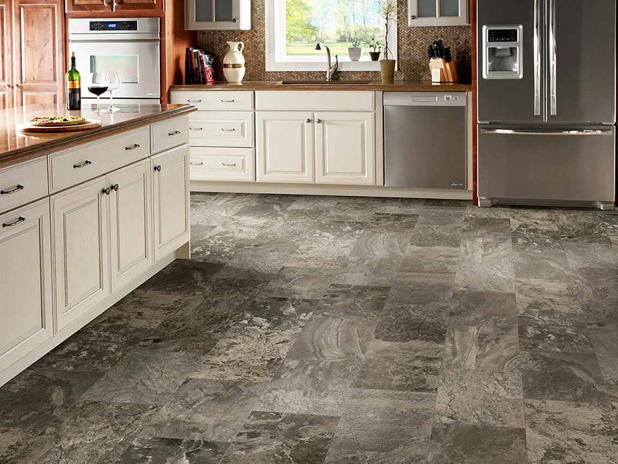 Vintage styled tiles kitchen floor