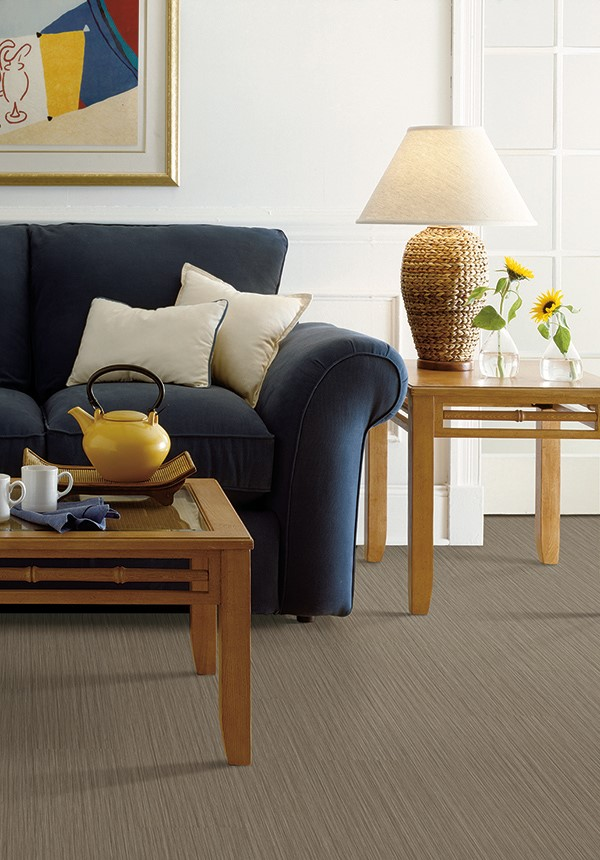 living room with dark carpet flooring